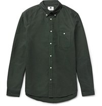 Nn.07 Nn07 New Derek Lim Fit Button Down Collar Cotton Oxford Hirt Green