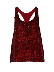 Ashish Sequin Embellished Scoop Neck Sleeveless Silk Top Burgundy