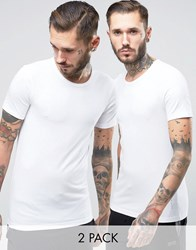 Boss Black By Hugo Crew T Shirt 2 Pack In Slim Fit White White