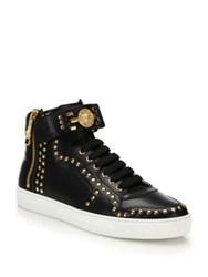Versace Studded Logo High Top Sneakers Nero