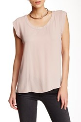 Pleione Pleated Back Woven Tee Pink