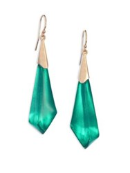 Alexis Bittar Faceted Lucite Drop Earrings Gold Green