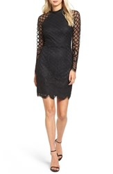 Sequin Hearts Women's Windowpane Mesh Body Con Dress