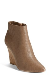 Women's Joie 'Jalena' Snake Embossed Pointy Toe Wedge Bootie Mousse