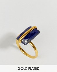 Ottoman Hands Lapis Stone Ring Gold