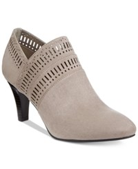 Karen Scott Marius Perforated Dress Booties Only At Macy's Women's Shoes Light Grey