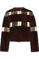 Rebecca Minkoff Jack Reversible Shearling Coat Burgundy