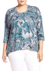 Melissa Mccarthy Seven7 Plus Size Women's Print Back Zip Ponte Top Deep Teal Marble Shine