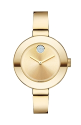 Movado 'Bold' Crystal Accent Bangle Watch 34Mm Gold