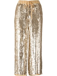 P.A.R.O.S.H. Sequin Embellished Trousers Metallic
