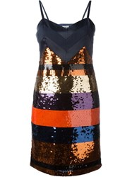 Sonia By Sonia Rykiel Stripe Sequin Dress Blue