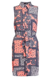 Quiz Coral And Navy Crepe Tile Print Shirt Orange