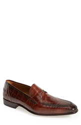 Mezlan 'Bordone' Alligator Penny Loafer Men Sport Brown