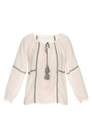 Velvet By Graham And Spencer Shavanni Embroidered Cotton Blend Top White