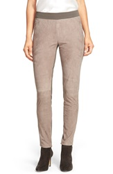 Lafayette 148 New York Suede And Punto Milano Skinny Moto Pants Lead