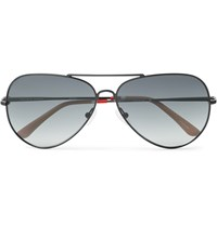 Orlebar Brown Aviator Style Metal Sunglasses Black