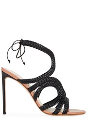 Francesco Russo Black Braided Leather Sandals