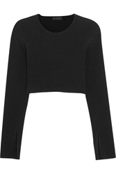Calvin Klein Bao Cropped Ribbed Knit Top Black