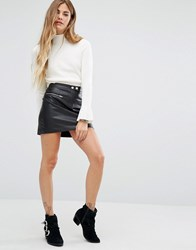 Honey Punch Mini Faux Leather Skirt With Zips Black