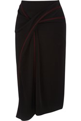 Atlein Draped Stitched Jersey Skirt Black
