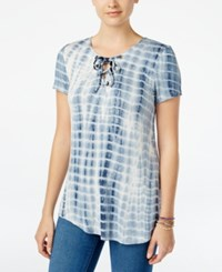 Say What Juniors' Lace Up Tie Dyed Printed Tunic Top Blue White Linear