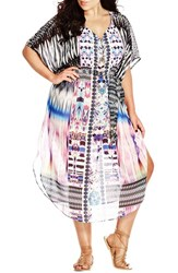 Plus Size Women's City Chic 'Diamond Life Kaftan' Print Chiffon Cover Up