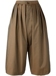 Comme Des Garcons Pleated Cropped Trousers Brown
