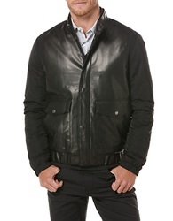 Perry Ellis Modern Fit Faux Leather Mixed Media Jacket Grey