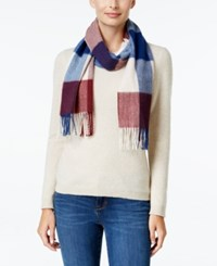 Charter Club Buffalo Check Cashmere Scarf Only At Macy's Mulberry Spice