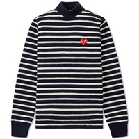 Comme Des Garcons Play Heart Logo Stripe Roll Neck Multi