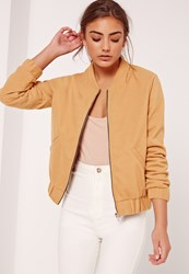 Missguided Faux Wool Bomber Jacket Camel