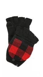 Plush Plaid Texting Mittens Red Black