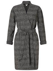 Miss Selfridge Check Belted Duster Coat Grey