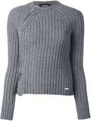 Dsquared2 Zipped Rib Knit Jumper Grey