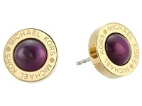 Michael Kors Logo Mother Of Pearl Stud Earrings Gold Eggplant Earring