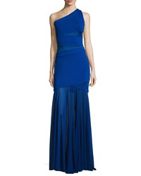 Halston One Shoulder Bandage Gown Bright Indigo