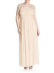 Marina Plus Size Sequin Illusion Neck Goddess Gown Champagne