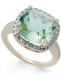 Victoria Townsend 18K Gold Over Sterling Silver Green Amethyst 5 3 4 Ct. T.W. And Diamond Accent Ring
