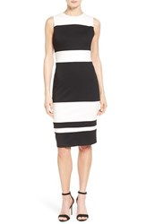Women's Matty M Colorblock Stripe Ponte Sheath Dress