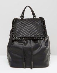 Aldo Backpack With Chevron And Chain Detail Black