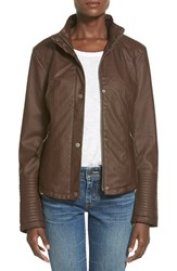 Junior Women's Celebrity Pink Quilted Faux Leather Jacket Java