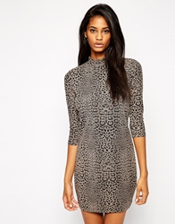 Asos Jacquard Dress With Long Sleeves In Leopard Print