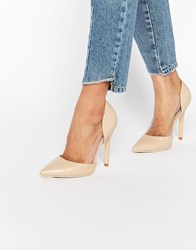 Public Desire Keely Clear Detail Court Shoes Nude Pu Pink