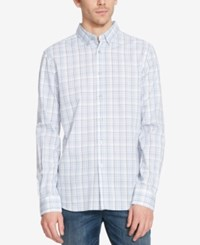 Kenneth Cole Reaction Men's Plaid Long Sleeve Shirt Faded Sky Combo