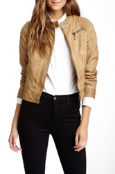 Lavand Faux Leather Jacket Brown