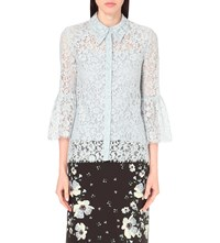 Erdem Bell Sleeve Floral Lace Top Blue