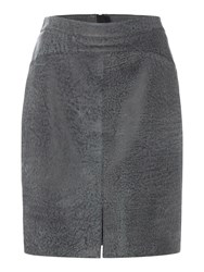 Label Lab Washed Leather Skirt Charcoal