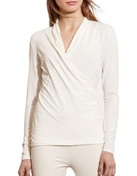 Lauren Ralph Lauren Petite Faux Wrap Jersey Top Cream