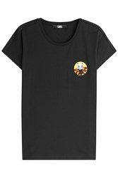 Karl Lagerfeld Choupette In Beijing Printed Cotton T Shirt Black