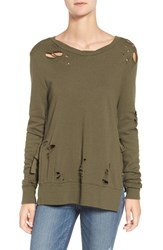 Pam And Gela Women's Ripped Cotton Modal Pullover Olive